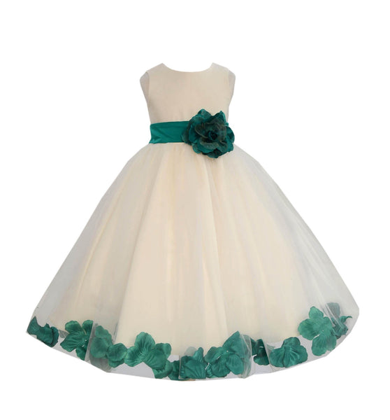 Ivory Tulle Floral Petals Flower Girl Dress Special Occasions Junior Pageant Wedding Holiday 302S(5)