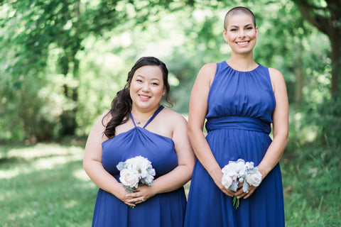 navy blue bridesmaid dresses outside wedding