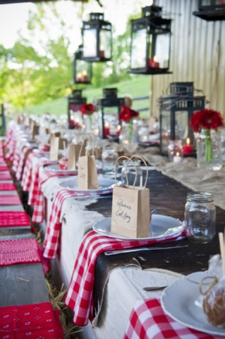 gingham wedding table