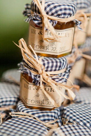 gingham mason jar jams wedding favours