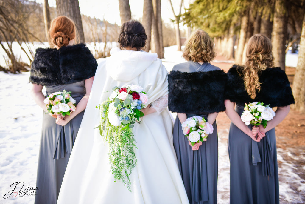 winter wedding styled shoot grey bridesmaid dresses canada calgary alberta