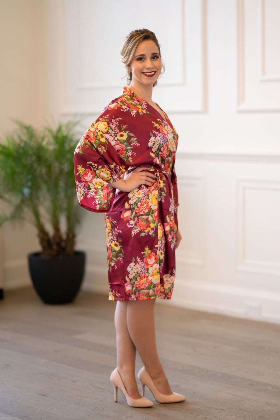 Bridesmaid Dresses - Burgundy Floral Bridal Robes - BridesMade