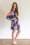 Bridesmaid Dresses - Navy Floral Bridal Robes - BridesMade