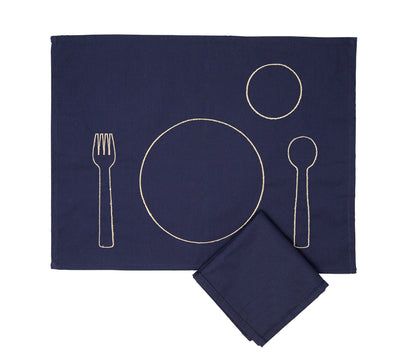 100% pre-shrunk cotton placemat with embroidery for toddlers, front side, with napkin