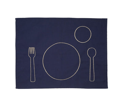 100% pre-shrunk cotton placemat with embroidery for toddlers, front side
