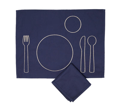100% pre-shrunk cotton placemat with embroidery, front side, with napkin