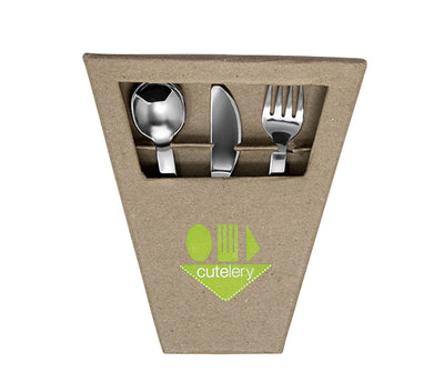 Cutelery Transition Fork, Spoon, and Knife Set - Box Front
