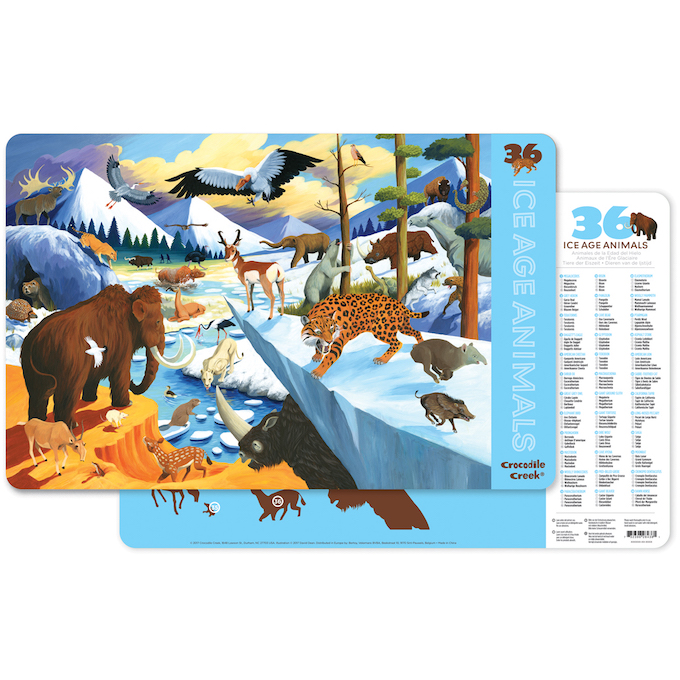 Crocodile Creek Placemat- 36 Animals/Ice Age