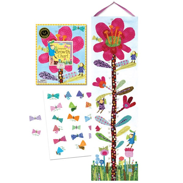 eeBoo Growth Chart- Hot Pink Flower
