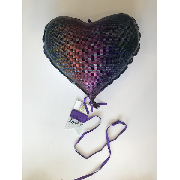 Helium Eternal Heart-Lilac Satin/Dark Purple Glitter