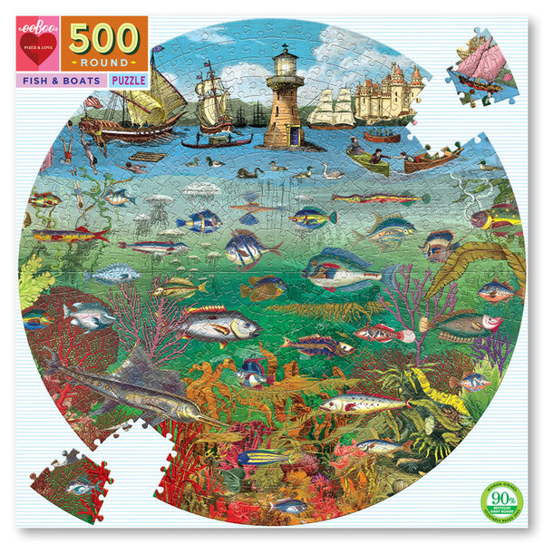 Eeboo Round Puzzle- Fish and Boats 500 pces
