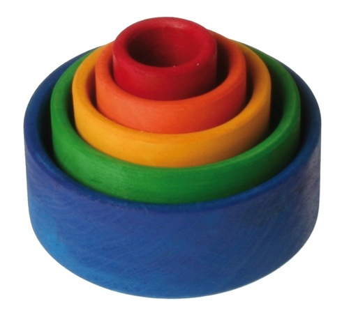 Grimm's Small Stacking Bowls, Multi Coloured 5 Pcs Outside Blue