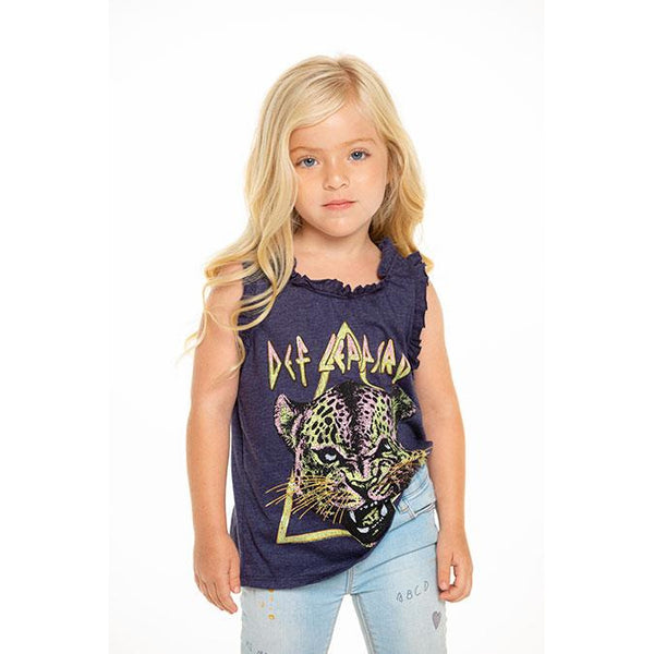 Chaser Girls Vintage Jersey Ruffle Racerback Tank - Def Leppard