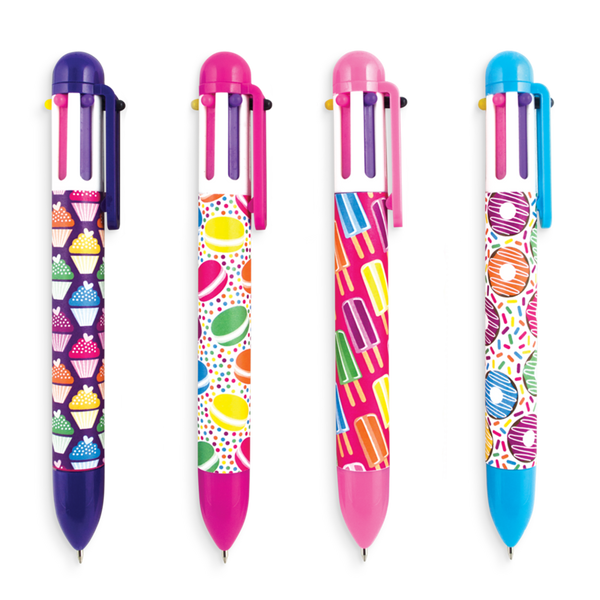 6 Click Multicolour Pens - Sweet Things