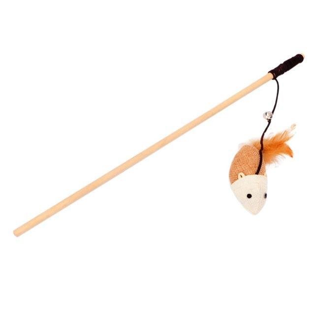 cutecatslovers 03 / M Elastic Rod Faux Mouse Toy for Cat on Wooden Rod