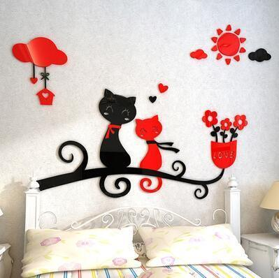 cutecatslovers 1 / medium size Cartoon Love Cat 3D Wall Stickers - Kindergarten, Children's Room Wall Decoration