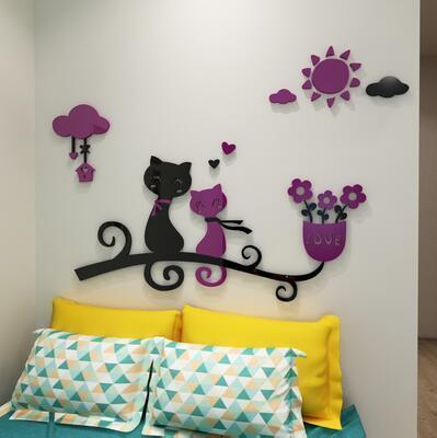 cutecatslovers 10 / medium size Cartoon Love Cat 3D Wall Stickers - Kindergarten, Children's Room Wall Decoration