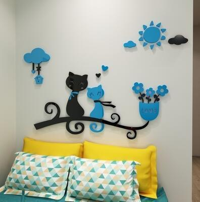 cutecatslovers 11 / medium size Cartoon Love Cat 3D Wall Stickers - Kindergarten, Children's Room Wall Decoration