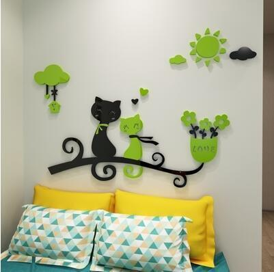 cutecatslovers 12 / medium size Cartoon Love Cat 3D Wall Stickers - Kindergarten, Children's Room Wall Decoration