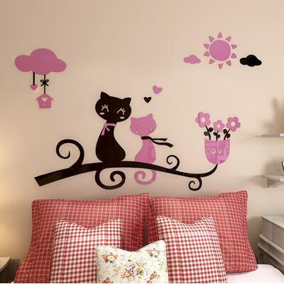 cutecatslovers 2 / medium size Cartoon Love Cat 3D Wall Stickers - Kindergarten, Children's Room Wall Decoration