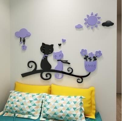 cutecatslovers 3 / medium size Cartoon Love Cat 3D Wall Stickers - Kindergarten, Children's Room Wall Decoration