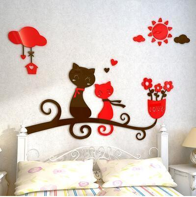 cutecatslovers 4 / medium size Cartoon Love Cat 3D Wall Stickers - Kindergarten, Children's Room Wall Decoration