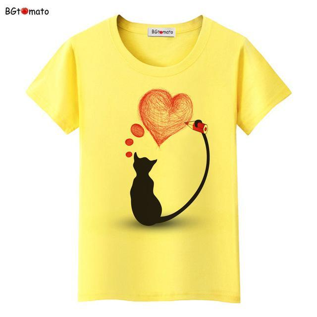 cutecatslovers 4 / S Black Cat Pink Love T-Shirt