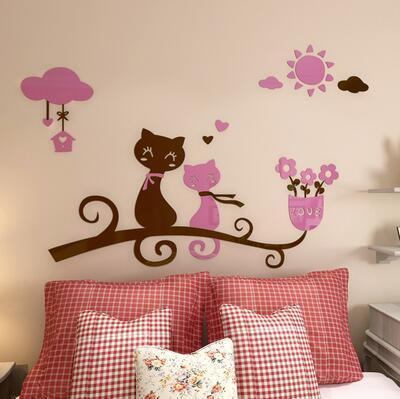 cutecatslovers 5 / medium size Cartoon Love Cat 3D Wall Stickers - Kindergarten, Children's Room Wall Decoration