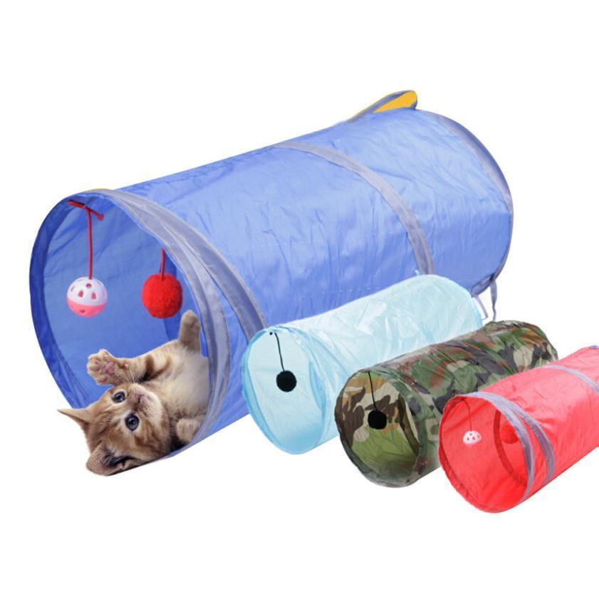 cutecatslovers 50*25cm Nylon Collapsible Cat Play Tunnel With Scratching Balls