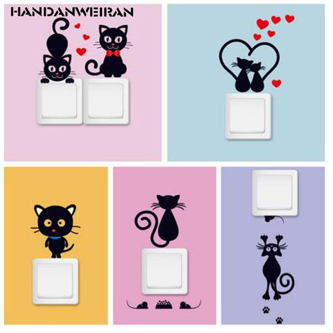 cutecatslovers 5pcs Cute Small Black Cat Switch Sticker Vinyl