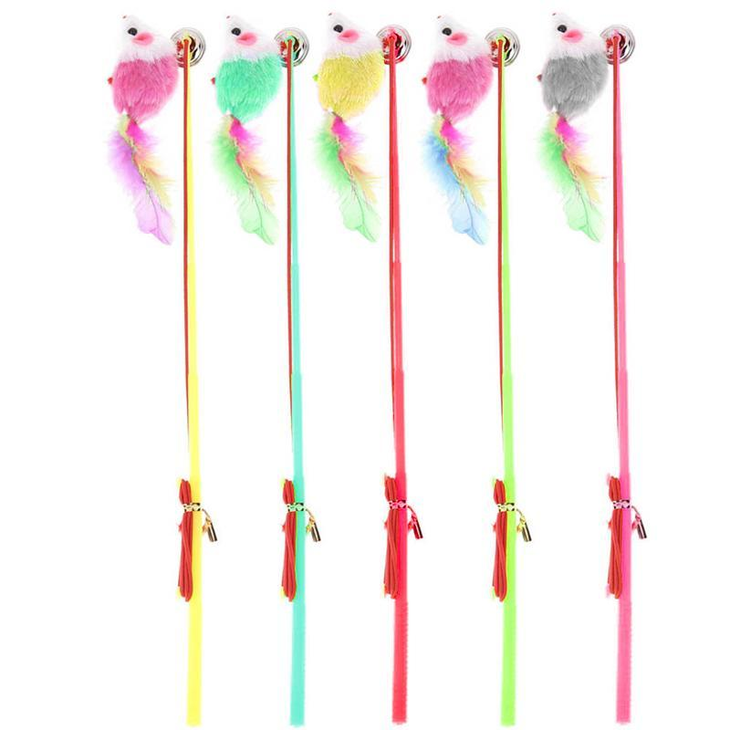 cutecatslovers 5pcs False Mouse Kitten Cat Toy Colorful Plastic Wire Feather Rod