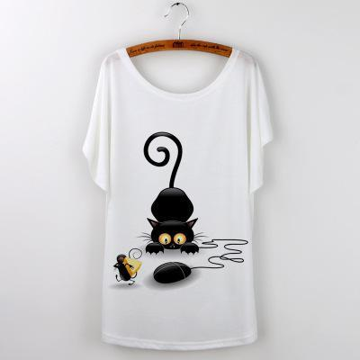 cutecatslovers 6 / S Funny Loose Cat and Mouse T-Shirt