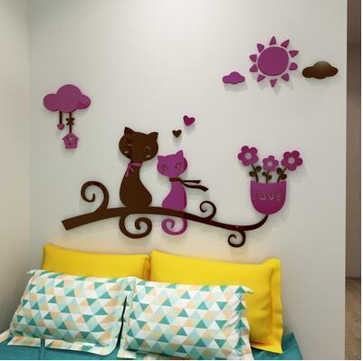 cutecatslovers 8 / medium size Cartoon Love Cat 3D Wall Stickers - Kindergarten, Children's Room Wall Decoration