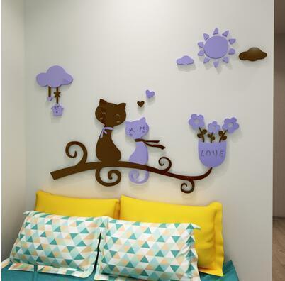 cutecatslovers 9 / medium size Cartoon Love Cat 3D Wall Stickers - Kindergarten, Children's Room Wall Decoration