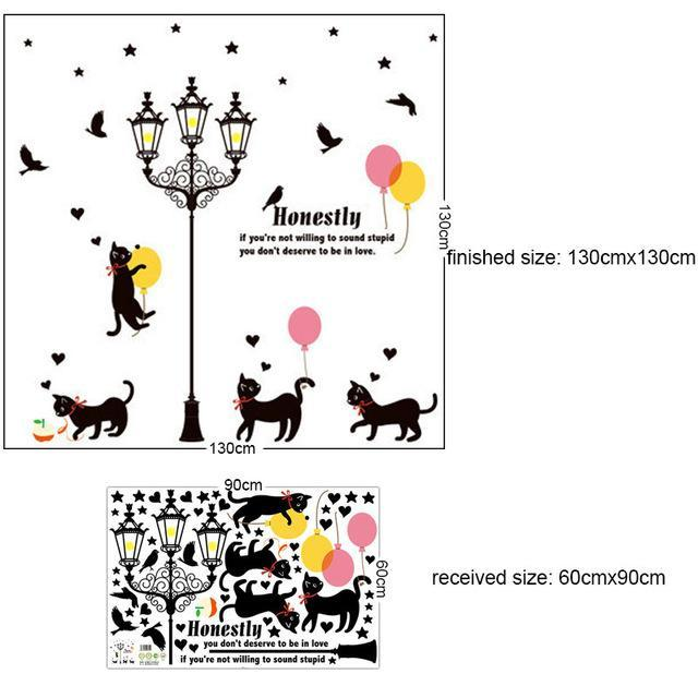 cutecatslovers A-60X90CM Large Cats Wall Sticker with Street Lamp and Birds