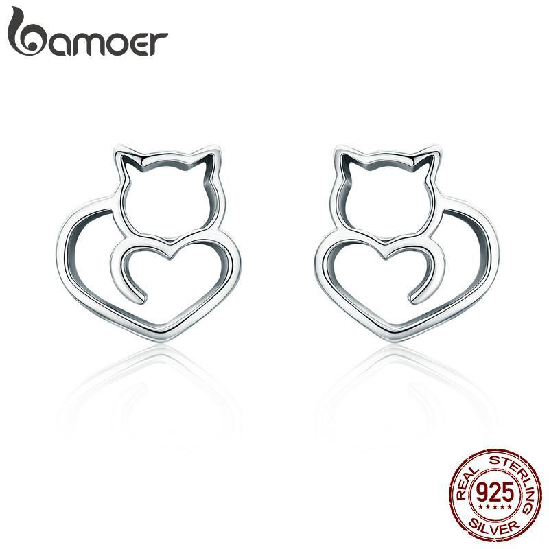 cutecatslovers Authentic 925 Sterling Silver Cute Cat Small Stud Earrings for Women