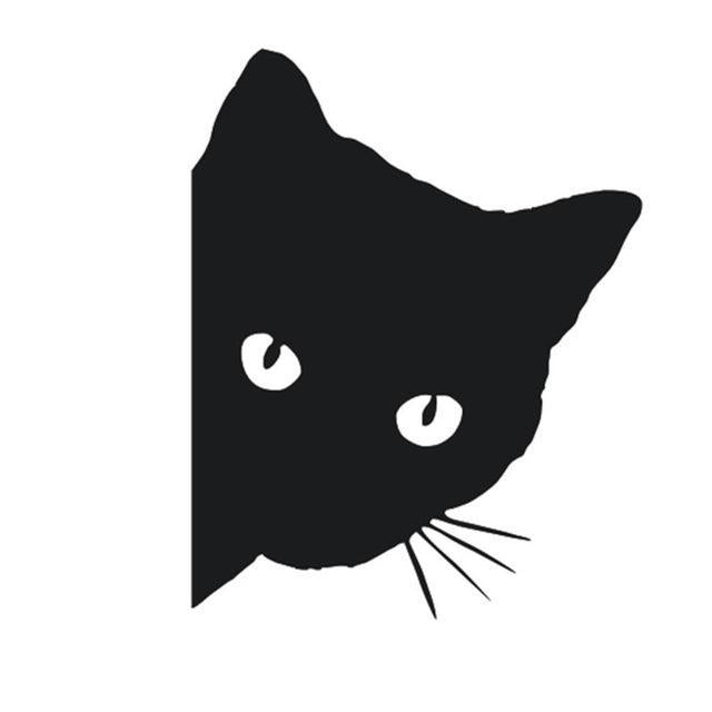 cutecatslovers Black Black/White Cat Car Sticker