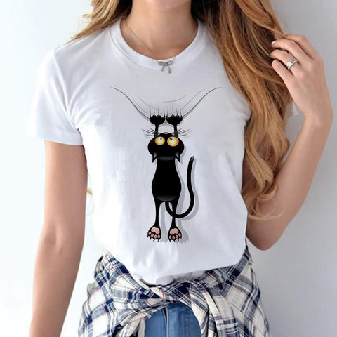 cutecatslovers Black Cat Climbing Up T-Shirt