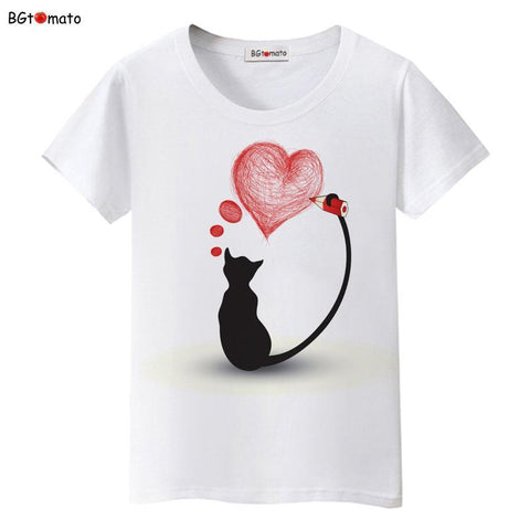 cutecatslovers Black Cat Pink Love T-Shirt