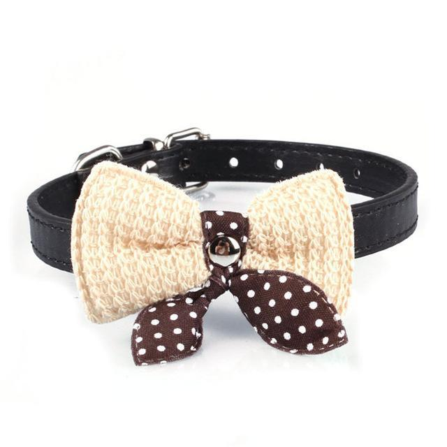 cutecatslovers Black Knit Bowknot Adjustable PU Leather Cute Collar for Cat
