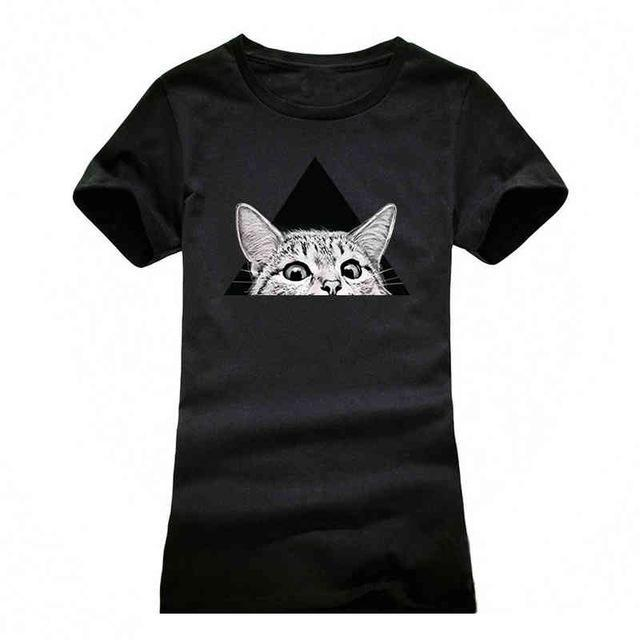 cutecatslovers black / S Cat Looking Out Of T-Shirt