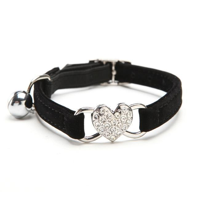 cutecatslovers Black / S Rhinestones Heart Cat Charm Adjustable, Soft Velvet material, Multiple colors availible