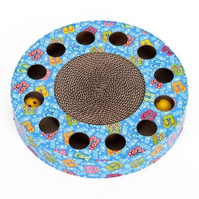 cutecatslovers Blue / M Cat Toy Rounded Scratcher Multihole with Balls Scratching Post For yOur Cat