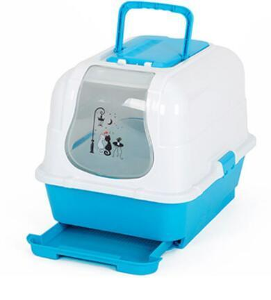 cutecatslovers blue / M Double Enclosed Cat Litter Box Toilet, Cute Design for Your Cute Cat