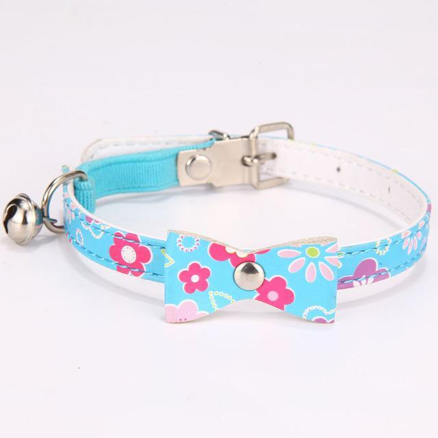 cutecatslovers blue / S 1.0x31cm PU Leather Cat Collar with Bell for Cats