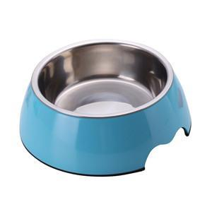 cutecatslovers Blue / S Solid Melamine Plastic Stainless Steel Cat Feeding / Water Bowl