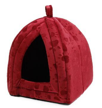 cutecatslovers Burgundy / M / China Cone Pet Cat Bed Kitten Kennel Very Soft Fabric