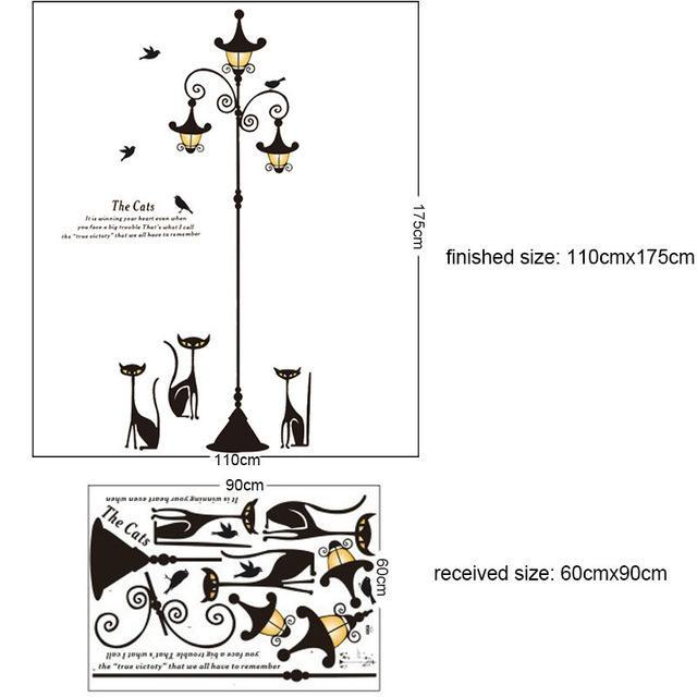 cutecatslovers C-60X90CM Large Cats Wall Sticker with Street Lamp and Birds