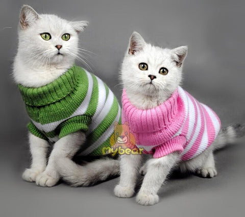 cutecatslovers Candy Stripe Color Warm Winter Spring Cat Sweater