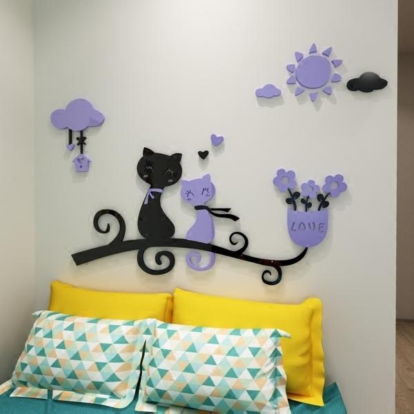 cutecatslovers Cartoon Love Cat 3D Wall Stickers - Kindergarten, Children's Room Wall Decoration